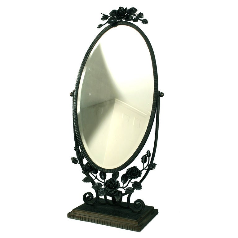 French art deco period wrought iron table mirror in the for Wrought iron mirror