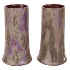 Pair of French Art Nouveau Period Ceramic Vases with Luster Glaze, circa 1900