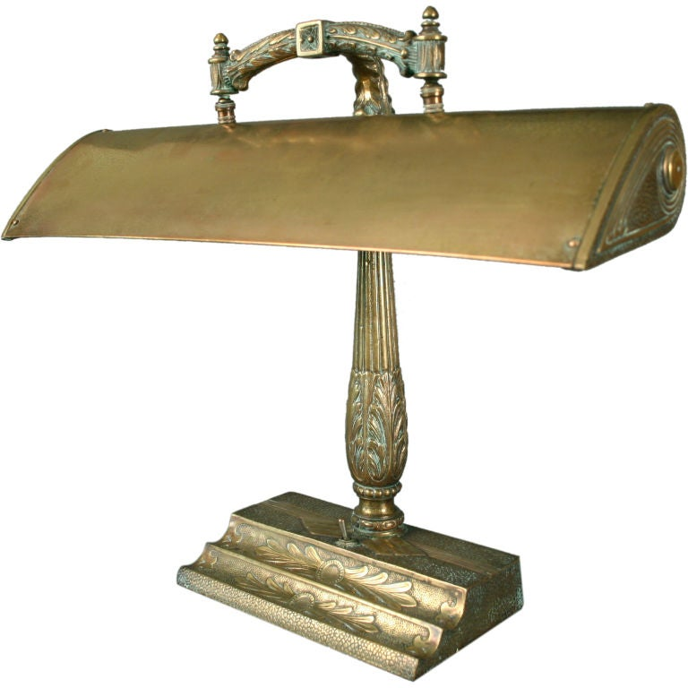 French Patinated Brass Art Nouveau Period Desk Lamp 1