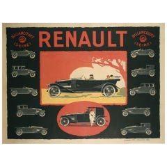 French Art Deco Period Poster for Renault, circa 1920s