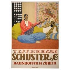 Swiss Art Deco Period Carpet Store Poster by Emil Cardinaux, 1924