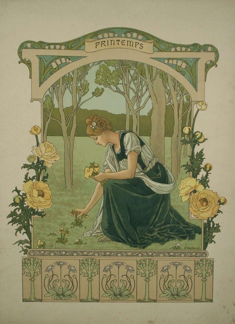 Set Of Four French Art Nouveau Quot Seasons Quot By Elisabeth