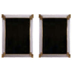 Pair of Barovier and Toso Glass and Bronze Wall Mirrors, circa 1950s