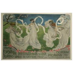 Italian Art Nouveau Period Exhibition Poster by Leonardo Bistolfi, 1902