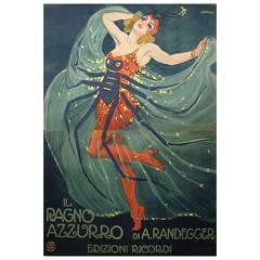 Italian Theatre Poster by Leopoldo Metlicovitz, 1912