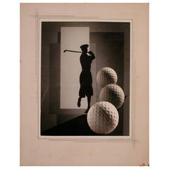 American Art Deco Period Golf Photo/Collage by Esther Brouillette, circa 1930s