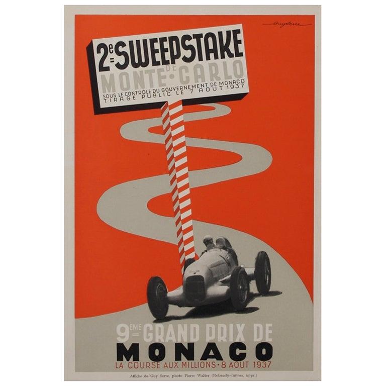 original deco period monaco race poster by serre at 1stdibs