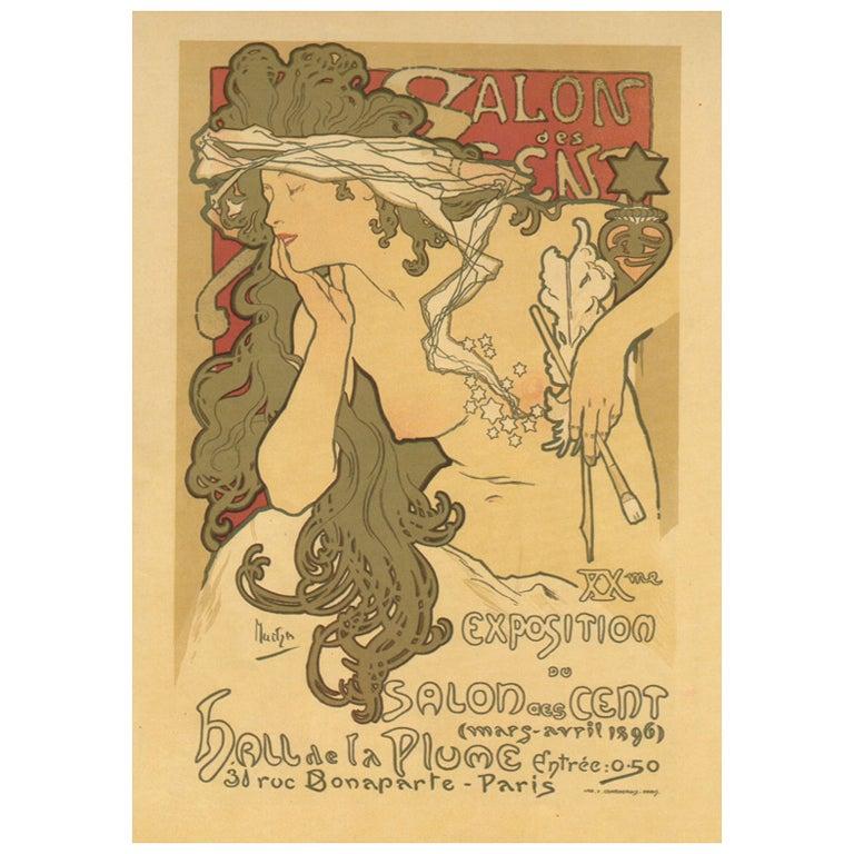 original art nouveau period poster by alphonse mucha at