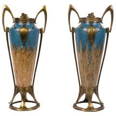 Pair of Austrian Secession Period Ceramic Vases, Style of Otto Eckmann