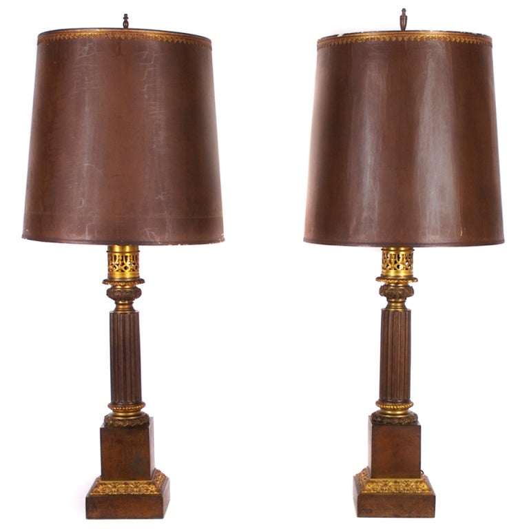 Pair Of French Bronze Oil Lamps Ca 1830s At 1stdibs