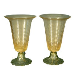 Pair of Murano Glass Table Lamps, circa 1970