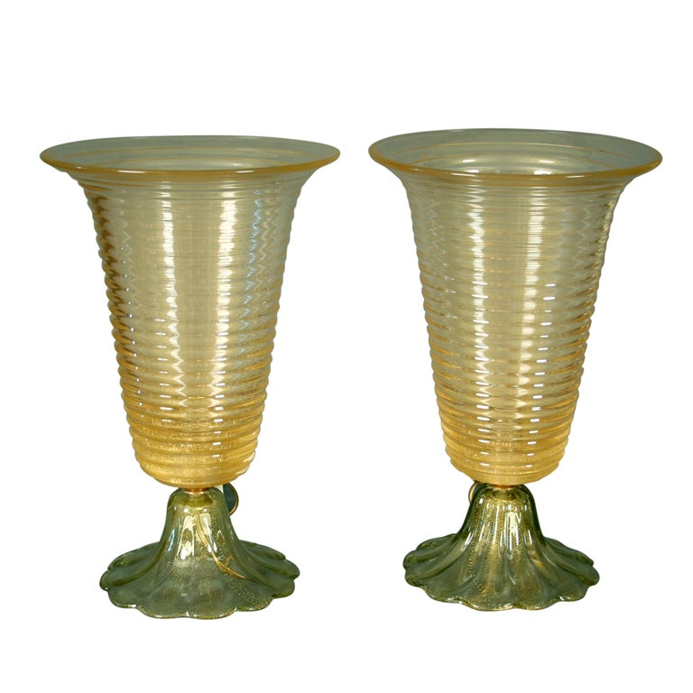 Pair of Murano Glass Table Lamps, circa 1970 1