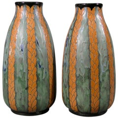 Pair of Belgian Art Deco Period Vases by Maurice Dufrene, circa 1920s