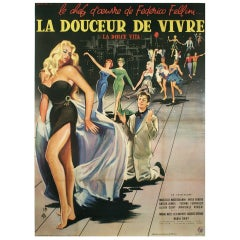 """Vintage French Movie Poster for """"La Dolce Vita,"""" by Yves Thos, 1960"""