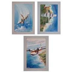 Set Of Three Aviation Watercolors By Italian Artist Amleto Fiore, 1950s