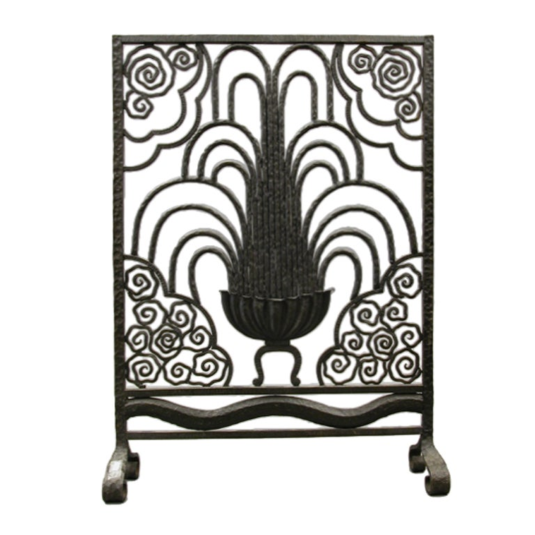 Rare Art Deco Period Wrought Iron Fire Screen By Paul Kiss At 1stdibs