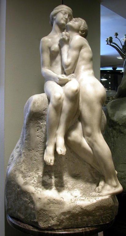Large French Art Nouveau Period Marble Sculpture by Max Blondat 2