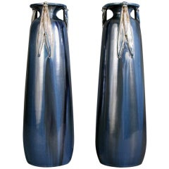 Pair of French Art Nouveau Period Ceramic Vases by Jean Leclerc, circa 1900