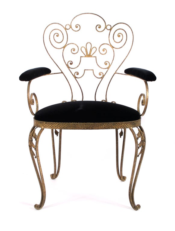 Pair of Italian Textured Wrought Iron Chairs from the 1950s For Sale ...