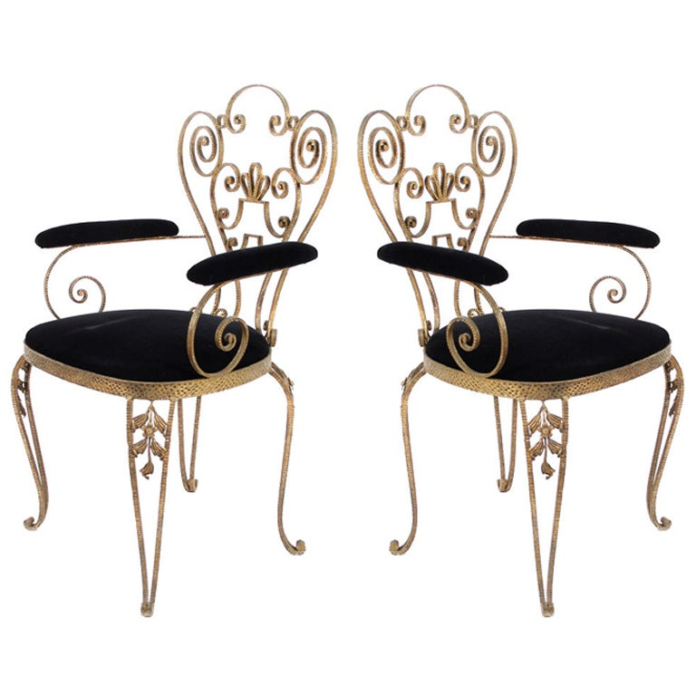 Pair of italian textured wrought iron chairs from the for Wrought iron furniture