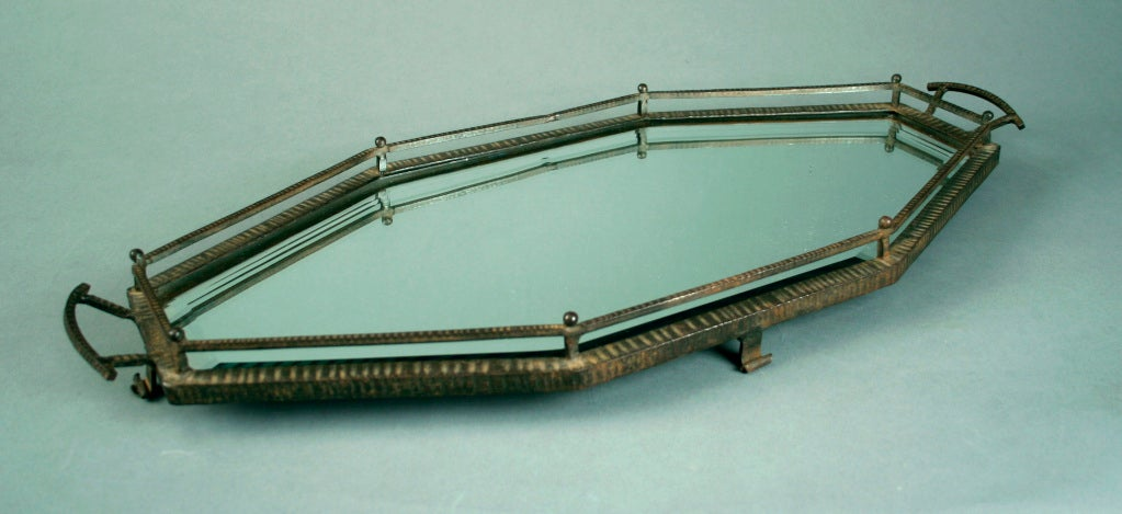 French Mirrored Wrought Iron Tray in the Style of Edgar Brandt 2