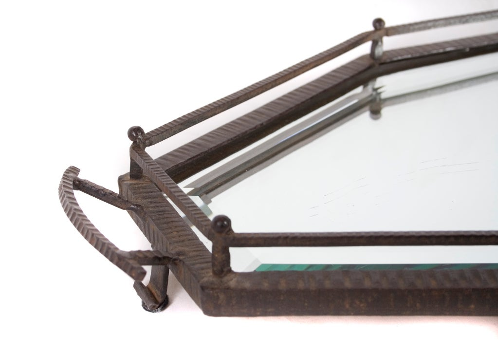 French Mirrored Wrought Iron Tray in the Style of Edgar Brandt 3
