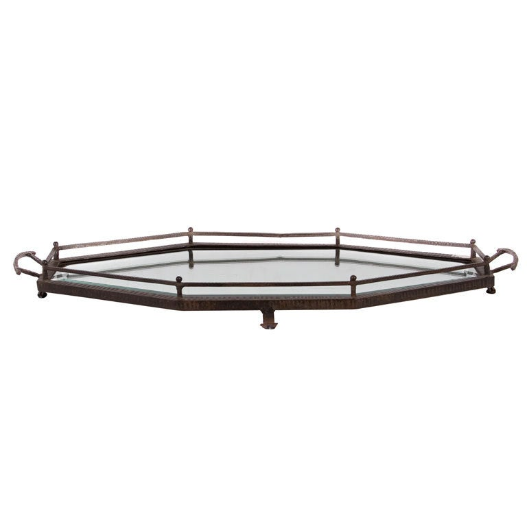 French Mirrored Wrought Iron Tray in the Style of Edgar Brandt 1