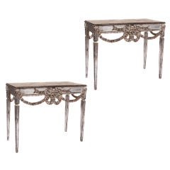 Pair of Italian Silver Leaf Consoles, Early 1900s