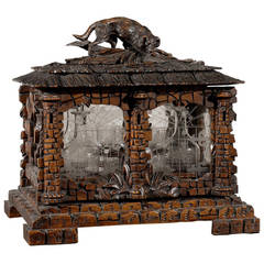 Black Forest Carved Tantalus Decanter Set, circa 1880s