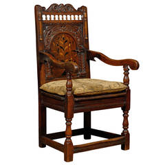 18th Century English Joined Armchair with Wonderful Inlay