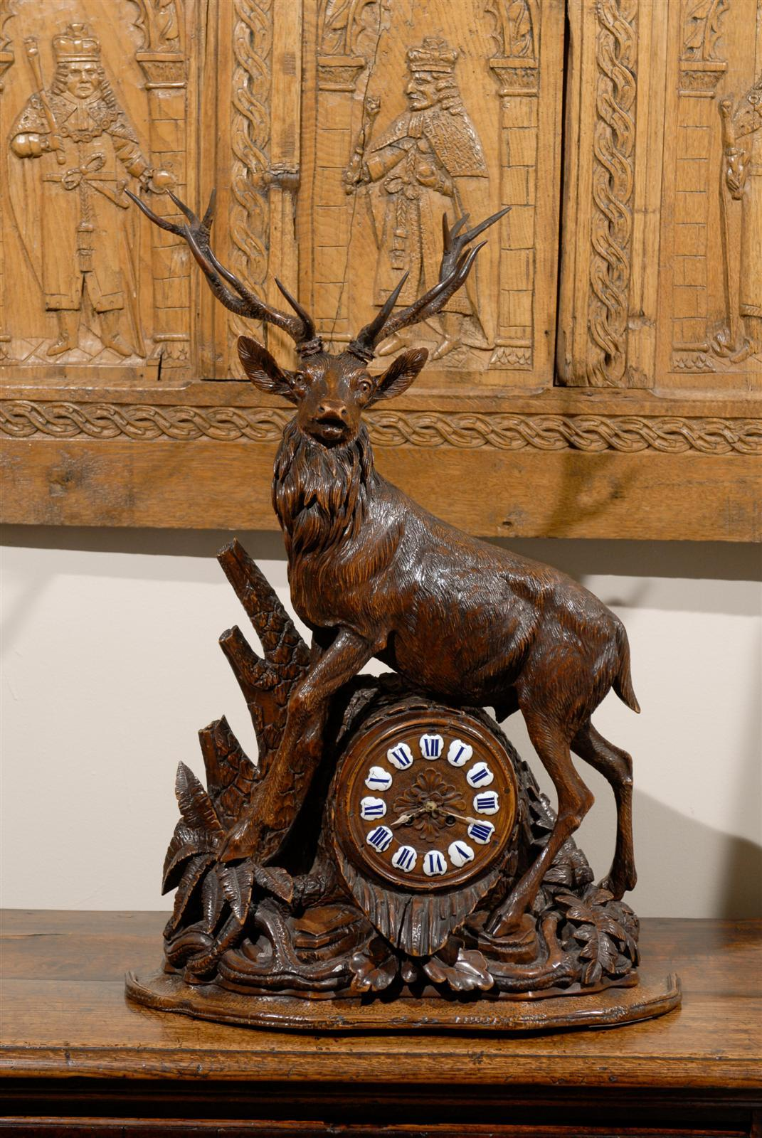 Black Forest Stag Clock Circa 1870s For Sale At 1stdibs