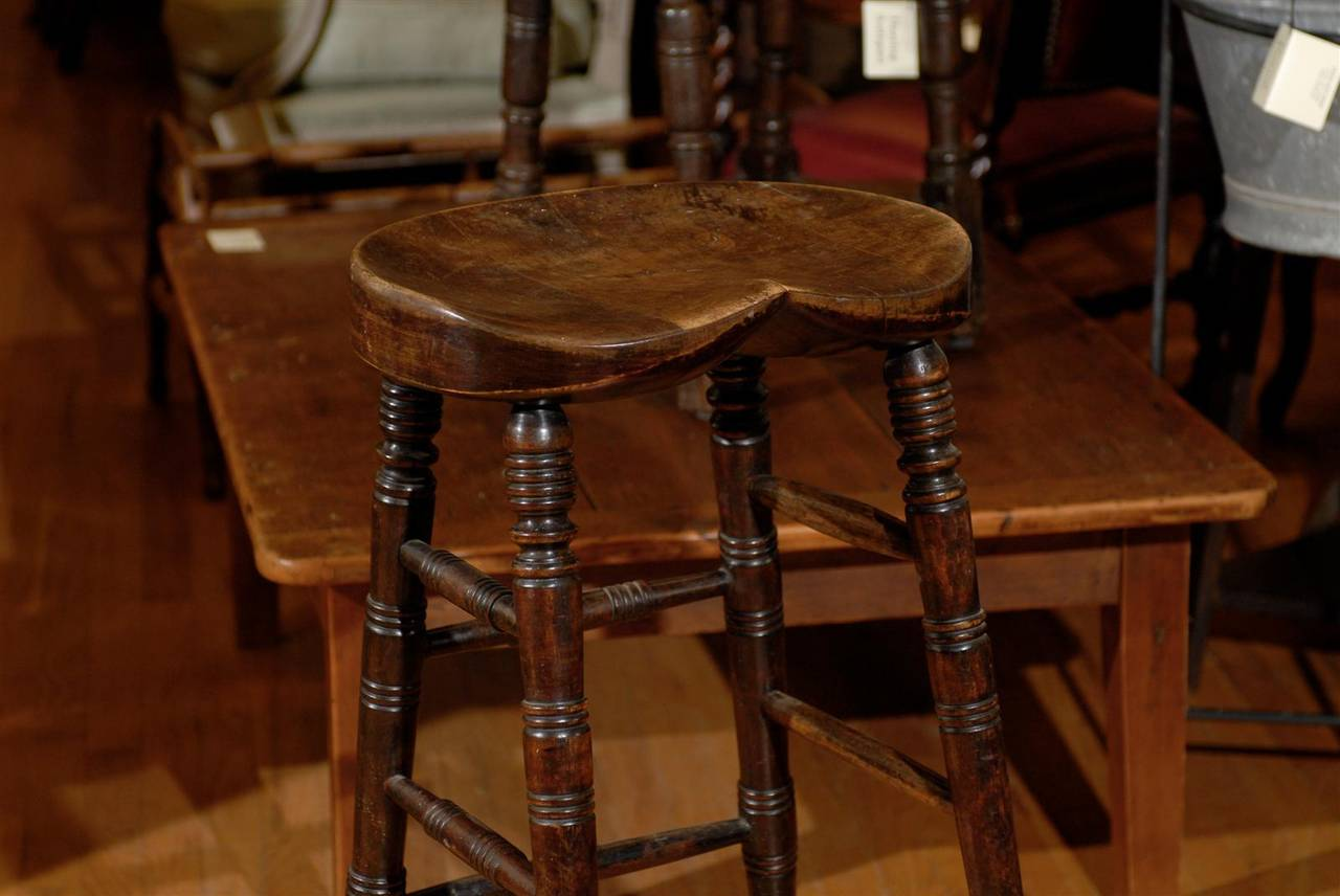 English Bar Stool With A Saddle Shaped Seat At 1stdibs