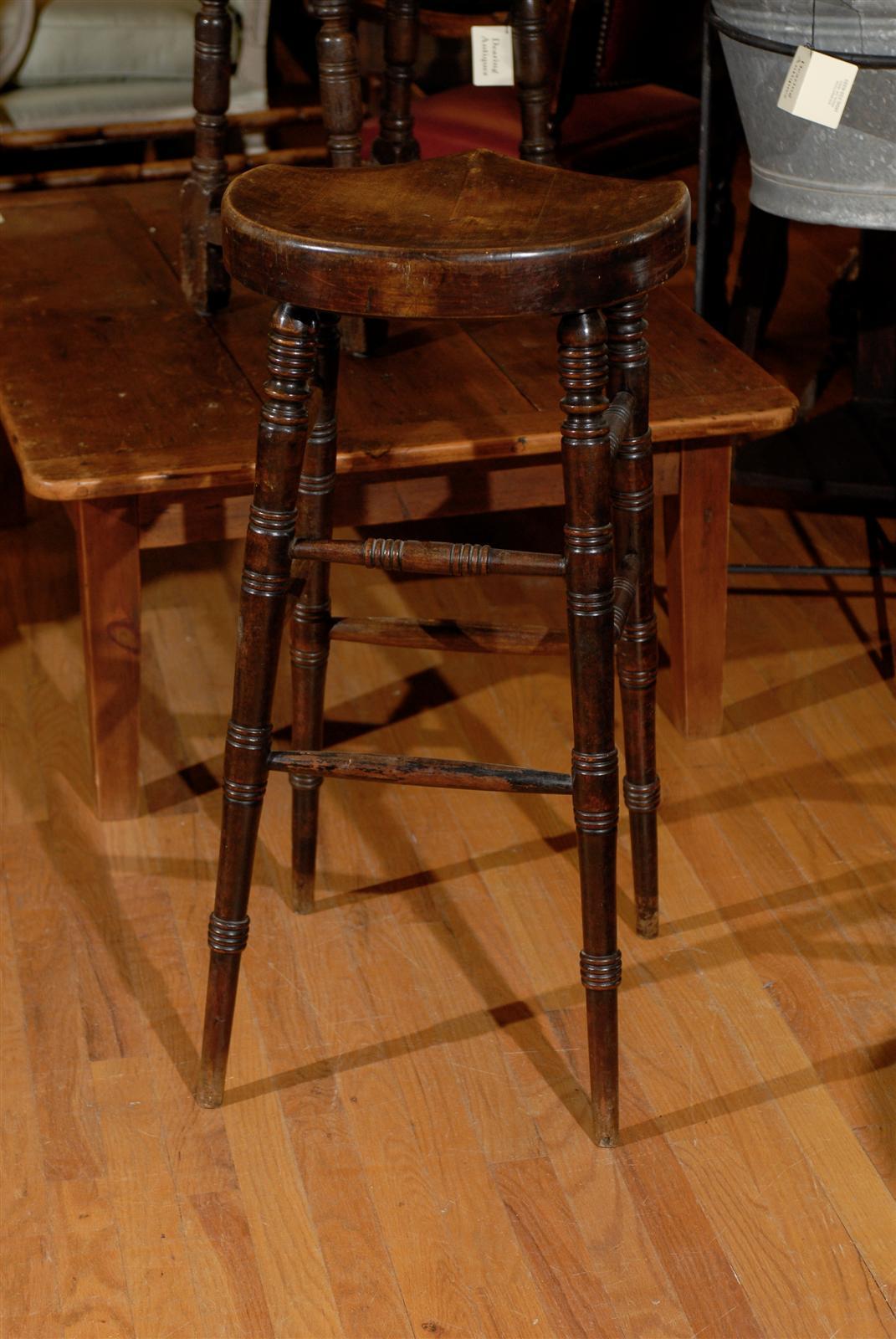 English Bar Stool With A Saddle Shaped Seat At 1stdibs