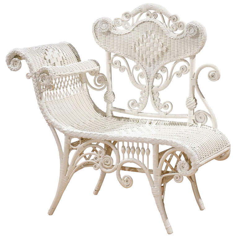 White Wicker Photographers Chair at 1stdibs