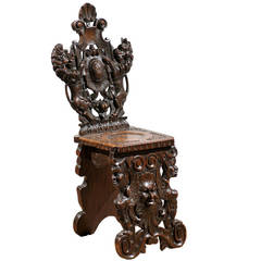 Solid Wood Carved Chair