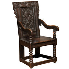18th Century Oak Carved Chair