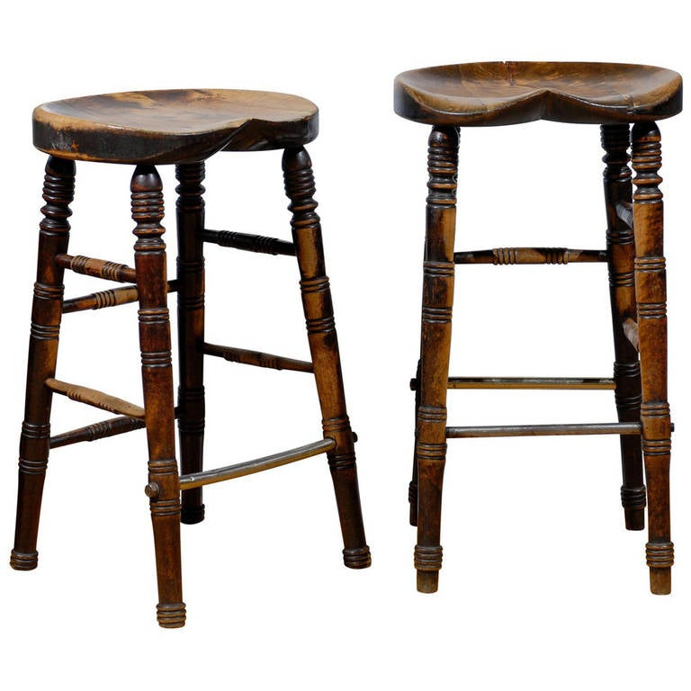 19th Century English Pub Stools At 1stdibs