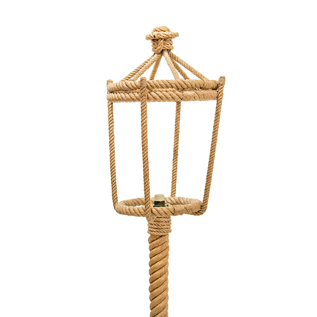 Audoux Minet, four high legs base rope floor lamp. New paper shade. Shade dimensions: 9-3/4