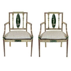 Pair of Continental Neoclassical Style, Polychrome Fauteuils