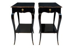Pair of Louis XV Style Black Lacquered and Parcel-Gilt Side Tables