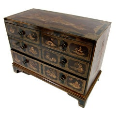 A 19th Century Japanned Chest with Pagoda and Landscape Imagery