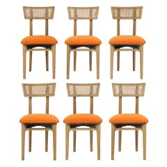 Set of Six Cerused Oak, Caned and Orange Mohair Dining Chairs