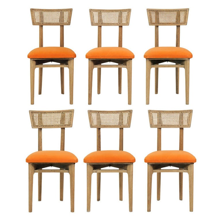 Set of Six Cerused Oak, Caned and Orange Mohair Dining Chairs For Sale