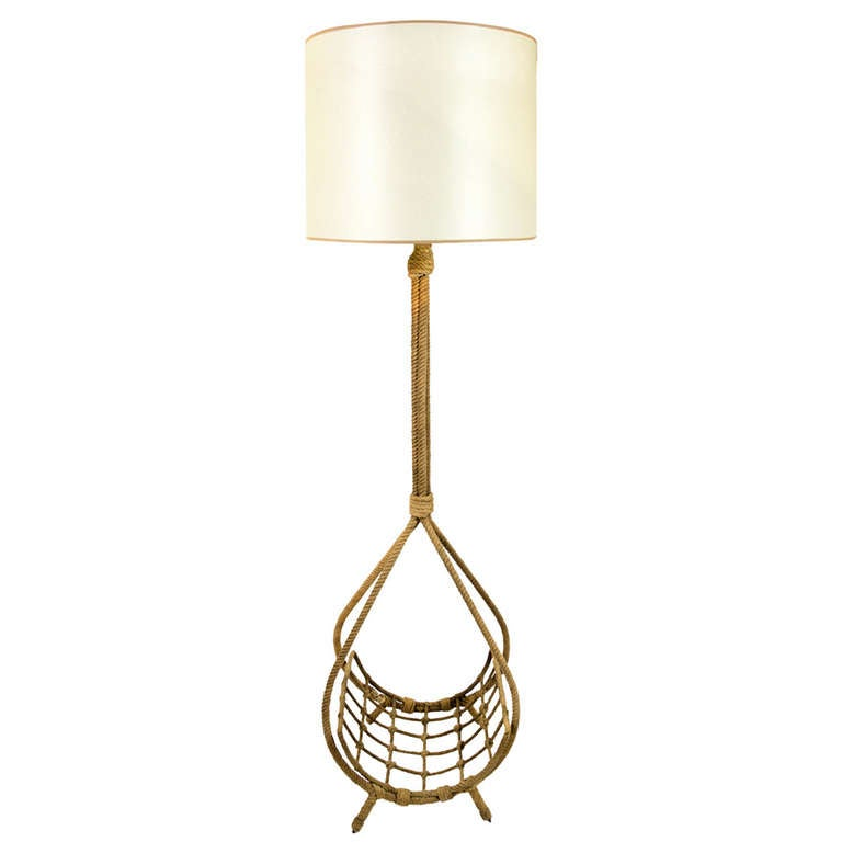 195039s rope standing lamp by audoux minet at 1stdibs for Floor lamp with rope stand