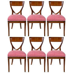 Set of Six 19th Century Biedermeier Mahogany Chairs