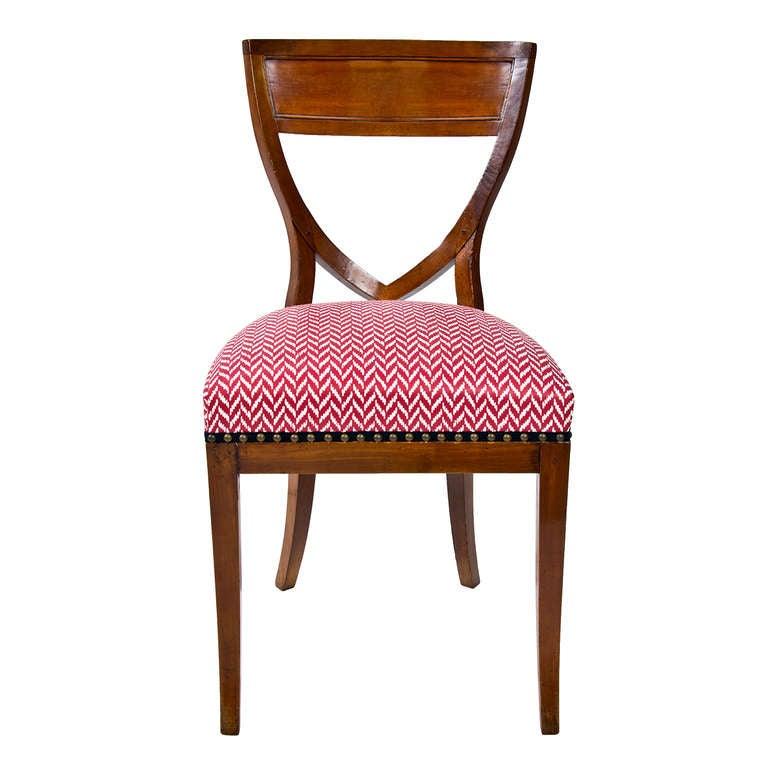 Set of Six 19th Century Biedermeier Mahogany Chairs For  : aBranca00031019944568redWhiteDudlyDiningChairsinglel from www.1stdibs.com size 768 x 768 jpeg 47kB