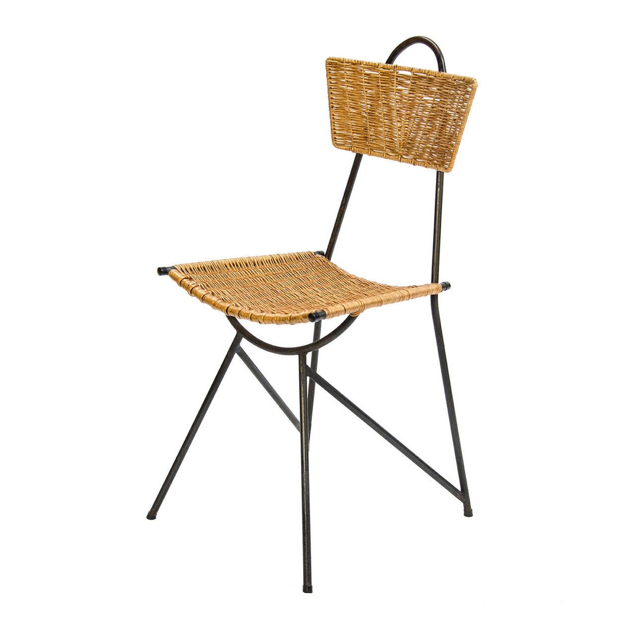 Mid-20th Century 1950s Black Metal and Rattan Dining Set in the style of Franco Albini For Sale