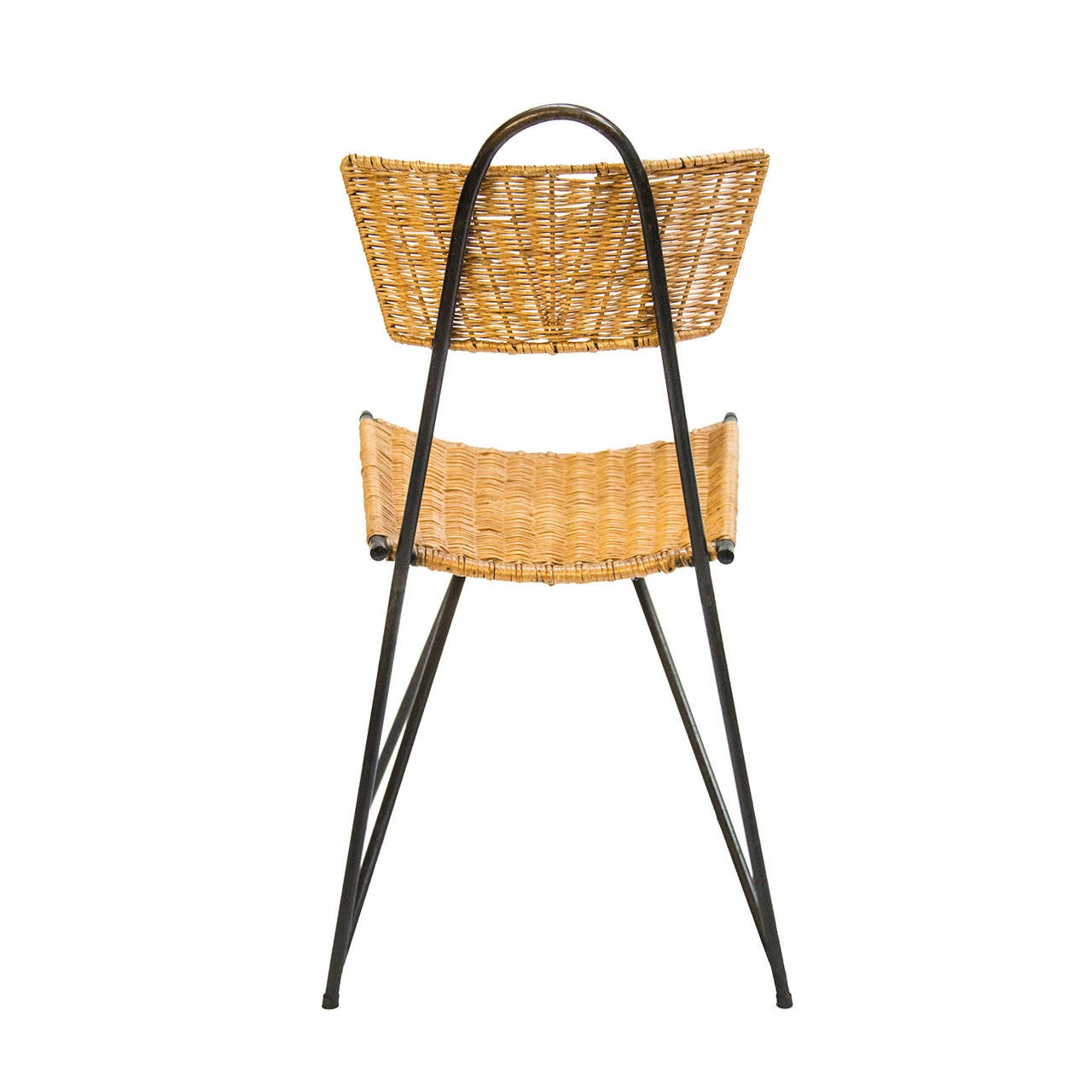 Italian 1950s Black Metal and Rattan Dining Set in the style of Franco Albini For Sale