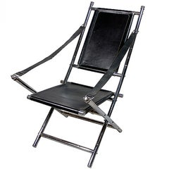 Chrome and Black Leather Folding Chair, Possibly by Maison Jansen