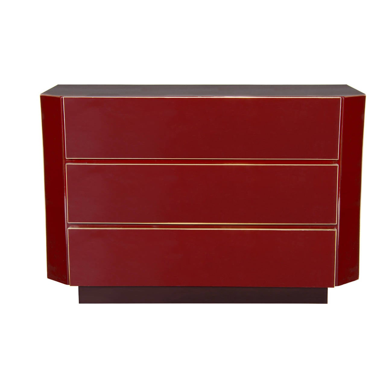 Lacquered 1970s Burgundy Red Lacquer Chest Attributed to Maison Jansen For Sale
